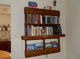 Bookshelves Decorating Ideas Neat Looking Diy Wood Pallet Bookshelf With White Painting Wall