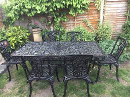 Cast Aluminium Garden Table And Chairs Large Cast Iron U0026 Aluminium Garden Table And Six Cast Iron Chairs