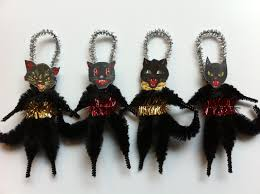 halloween black cats set of 4 vintage style chenille ornaments