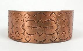 antique copper bracelet images Vintage native american copper stamped symbols bracelet bell jpg