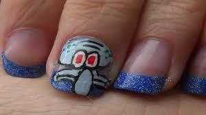 spongebob characters squidward nail art tutorial youtube