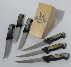 intruder wildlife knives in butcher block set woodland