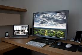 Programmer Desk Setup My Work Desk Dell 3008wfp Macbook Pro Core I7 Desktop