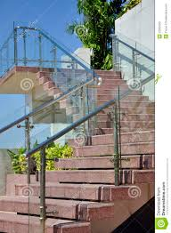 Glass Wall Panels Modern Outdoor Stairway With Glass Wall Panels Stock Photos