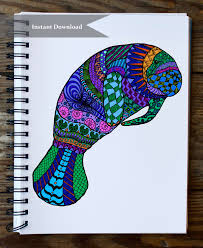 zentangle inspired manatee doodle coloring page instant