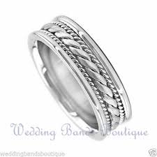 braided wedding band men s braided wedding ring 14k white gold 7mm ebay