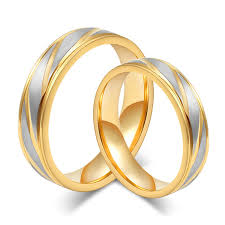 wedding ring sets for him and gold color custom alliance stainless steel wedding bands couples