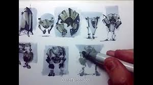 robot sketch in copic markers youtube
