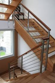 stainless steel banister rails dark wood and steel railing google search stair railing