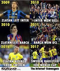 Football Meme - zlatan is bad luck funny football meme pmslweb