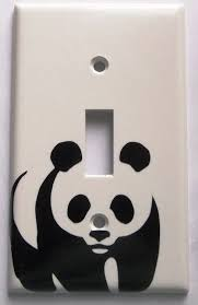 panda bear you pick color light switch plate cover vinyl decal