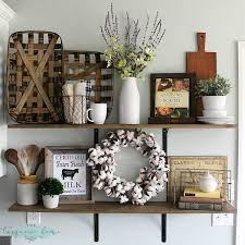 farmhouse decor decorating shelves in a farmhouse kitchen