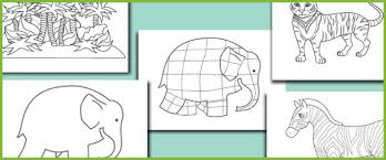 elmer elephant colouring sheets free early u0026 primary