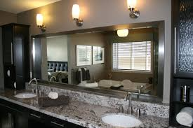 contemporary bathroom mirrors bahtroom long custom bathroom mirror frames on grey wall paint and