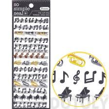 musical scores notes and instruments music themed stickers 2