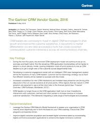 the gartner crm vendor and digital commerce vendor guide 2016 by
