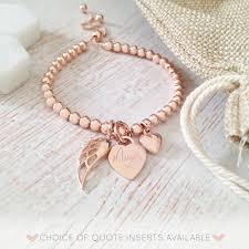 rose bracelet charm images Rose gold memorial bracelet with engraved handwriting heart charm jpg