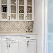 White Herringbone Tile Backsplash Design Ideas - Herringbone tile backsplash