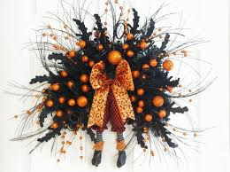 halloween swag orange and black swag witch legs wreath