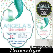 mermaid tail birthday invitation personalized d11 cupcakemakeover