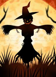 scarecrow halloween halloween scarecrow silhouette drawing lesson step by step