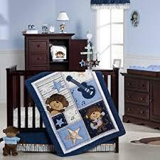 amazon com carter u0027s 4 piece crib bedding set monkey rockstar