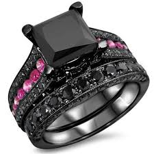 black wedding sets pink and black wedding ring sets wedding rings wedding ideas and