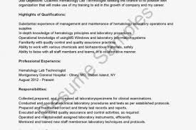 Medical Laboratory Technologist Resume Sample by Medical Technologist Hematology Resume Reentrycorps