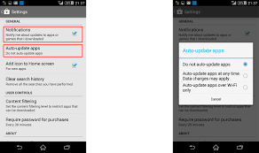 disable auto updates in android on sony xperia devices