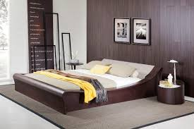 geneva contemporary brown oak platform bed w lights cup holders