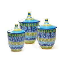 green kitchen canister set tapas 3 piece ceramic canister set in tapaz as is item ceramic