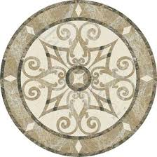 floor medallion marble inlay water jet pattern