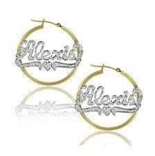 name hoop earrings rhodium cut name hoop earrings with heart be monogrammed