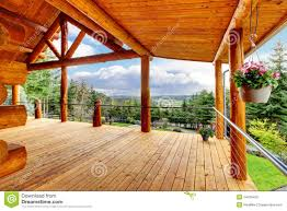 beautiful view of the log cabin house porch stock image image