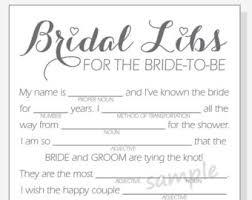 bridal mad libs bridal wedding shower mad libs printable file