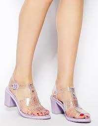 miista june lavender clear heeled sandals lyst