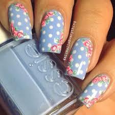 polka dots blue nails flowers essie nail art nail design