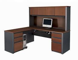 L Shaped Computer Desk With Storage Furniture Brown Wooden L Shaped Computer Desk In