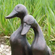 pair of glazed ceramic effect ducks outdoor resin garden