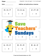 addition and subtraction fact families worksheets and lesson plans