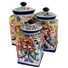 colored kitchen canisters colorful kitchen canisters talavera collection canister 1479148437