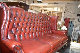 Chesterfield 3 Seater Sofa by Antiques Bazaar Lounge Chairs Red Ox Blood Leather Queen Anne