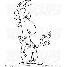 cartoon black and white line drawing of a guy holding an apple
