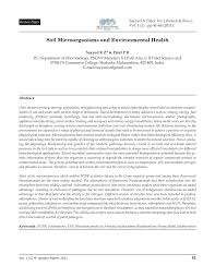 soil microorganisms and environmental health pdf download available