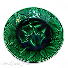 19th century green majolica leaf plate regal sanejouand