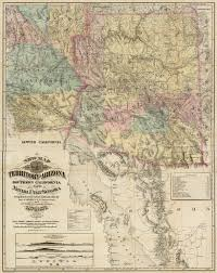 Map Of California And Arizona by New Map Of The Territory Of Arizona Southern California And Parts