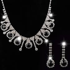 silver jewellery necklace sets images Yfjewe 2017 african beads jewelry sets silver plated black crystal jpg