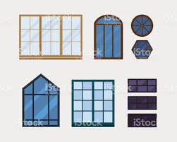 House Style Types Different Types House Windows Elements Isolated Set Flat Style