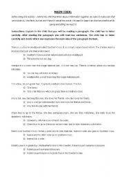 english teaching worksheets identifying the main idea