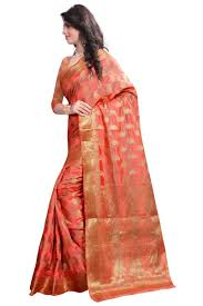 buy see more self designer peach color art silk saree with blouse